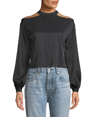 MARLED BY REUNITED Cropped Blouson-Sleeve Blouse With Cutout Shoulders in Black