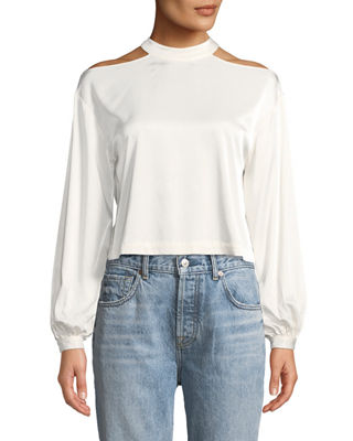 MARLED BY REUNITED Cropped Blouson-Sleeve Blouse With Cutout Shoulders in White