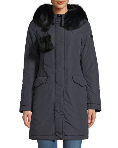 Aponi Hooded Parka Coat w/ Detachable Fur