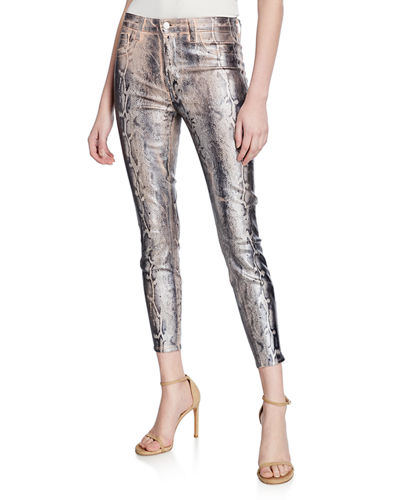 Margot High-Rise Foil Cheetah-Print Skinny Jeans
