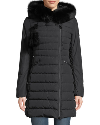 Seriola Puffer Coat w/ Fur Trim & Pompoms