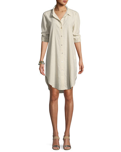 Striped Hemp-Blend Shirtdress, Petite