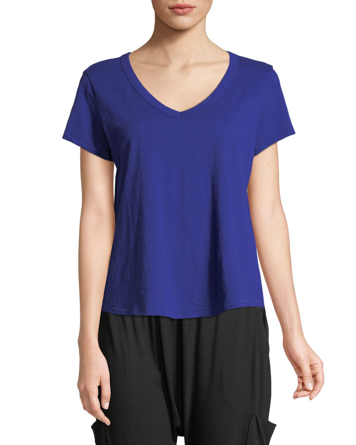 Short-Sleeve Organic Cotton V-Neck Shirttail Tee, Petite
