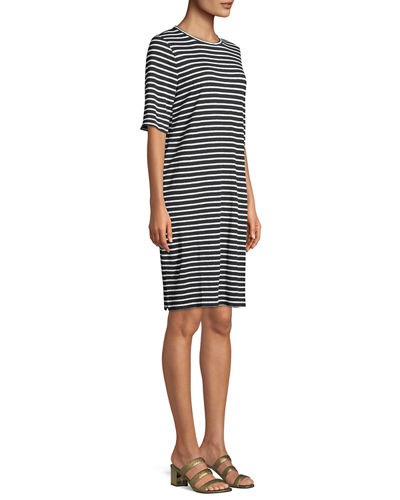 Seaside Striped Half-Sleeve Organic Linen Dress