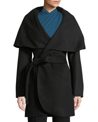 T TAHARI Marla Oversized Shawl Collar Coat in Black