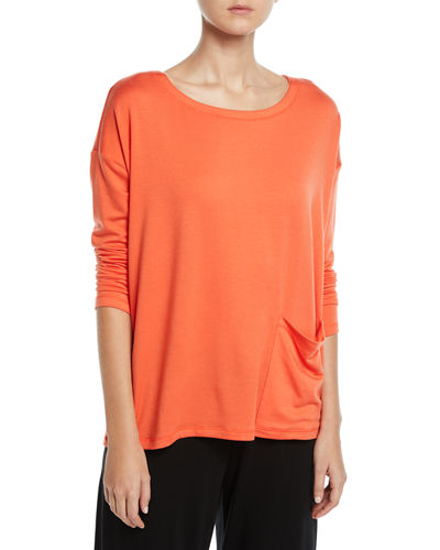 Long-Sleeve Pocket-Front Terry Top