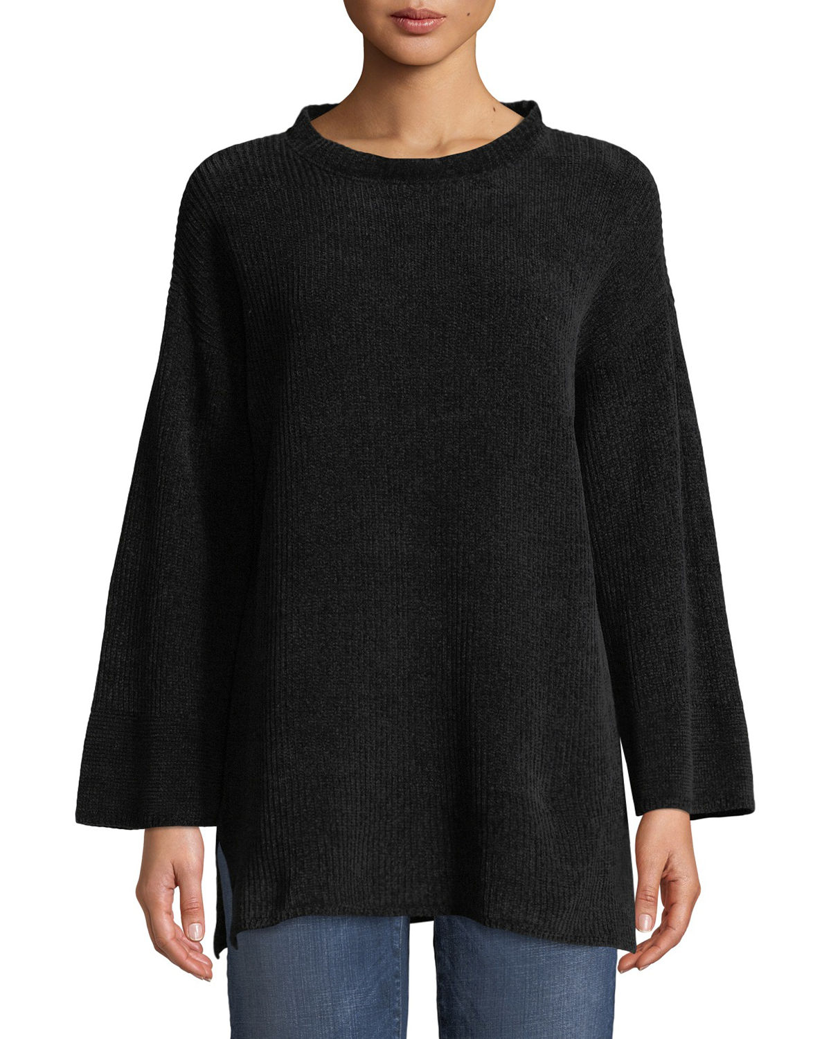 Eileen Fisher Cottons CHENILLE TUNIC SWEATER, PLUS SIZE