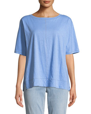 b8fda93838148 Eileen Fisher Slub Jersey Topstitch Box Tee