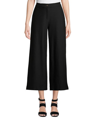 Petite High-Waist Wide-Leg Cropped Stretch Crepe Pants