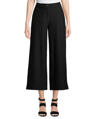 Eileen Fisher High-Waist Wide-Leg Cropped Stretch Crepe Pants 307aee3d343e5