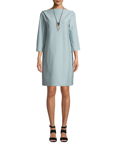 3/4-Sleeve Washable Stretch-Crepe Dress