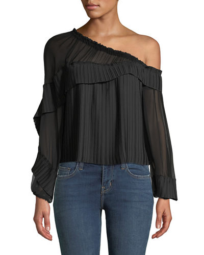 Aurora One-Shoulder Pleated Long-Sleeve Top