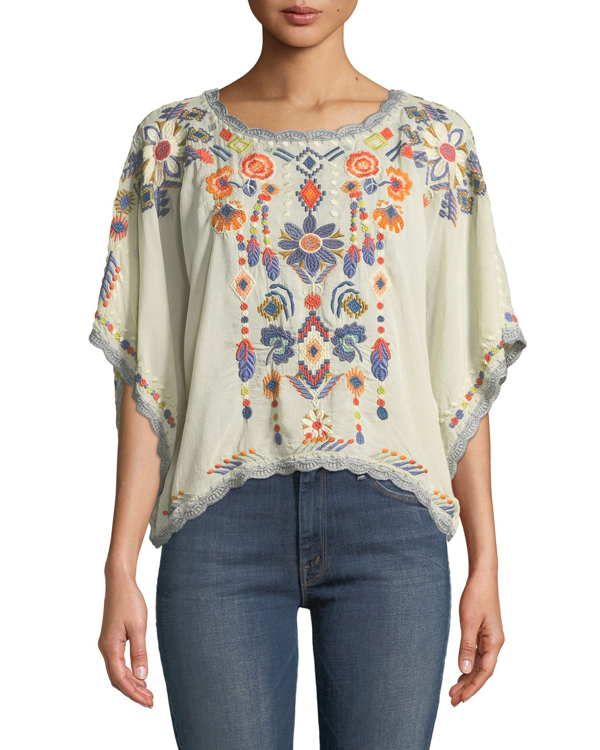 Johnny Was Caspian Scoop-Neck Embroidered Cropped Top