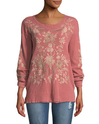 Johnny Was Othilia Thermal Floral-Embroidered Top