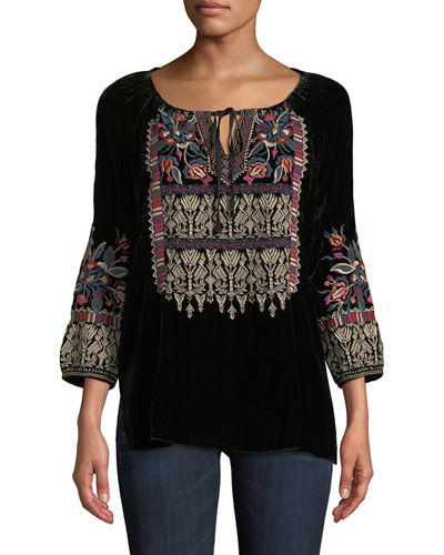 Claude Embroidered Velvet Blouse, Plus Size