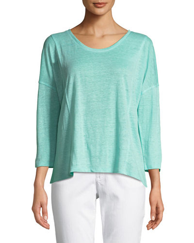 Scoop-Neck 3/4-Sleeve High-Low Organic Linen Tee