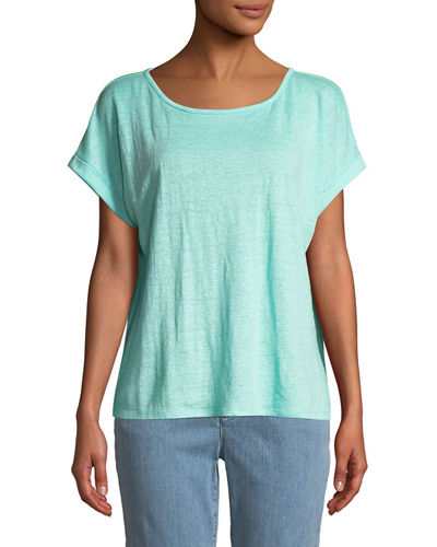 Scoop-Neck Short-Sleeve Jersey Linen Tee