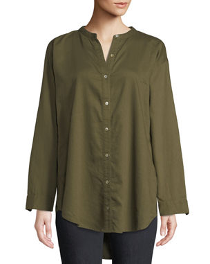 4a4da85953c Eileen Fisher Mandarin-Collar Button-Front Shirt