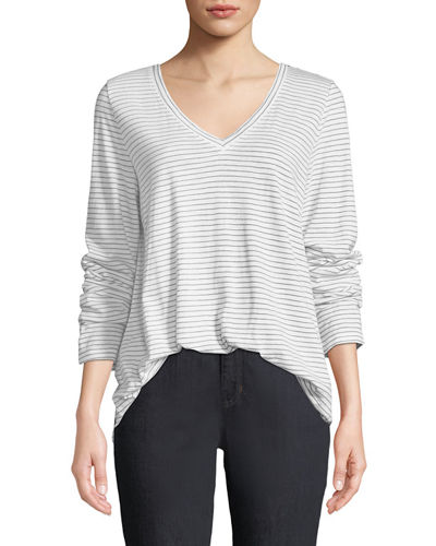 V-Neck Long-Sleeve Pinstriped Tee