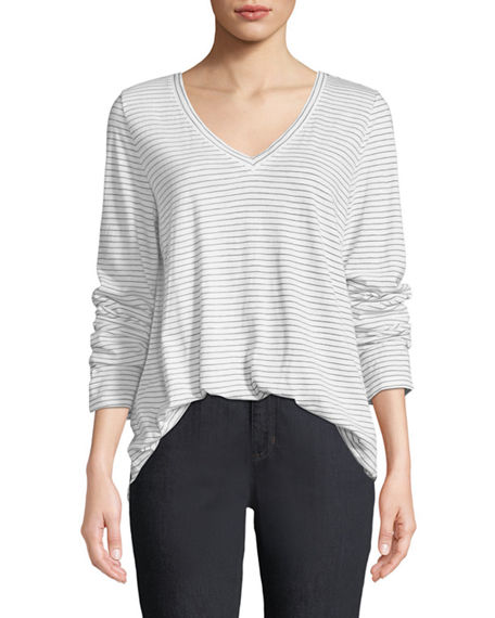 Eileen Fisher Cottons Plus Size V-Neck Long-Sleeve Pinstriped Tee