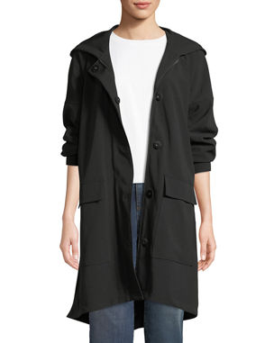 6bf58936a84 Eileen Fisher Hooded Long-Sleeve A-Line Coat w  Dual-Front Closure