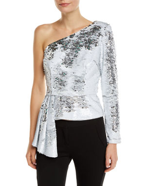 514d852f7599d2 Aidan by Aidan Mattox Sequin Asymmetric Peplum Top