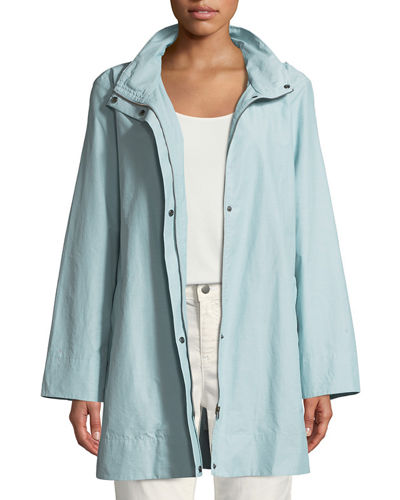 Hooded A-Line Long Outerwear Jacket
