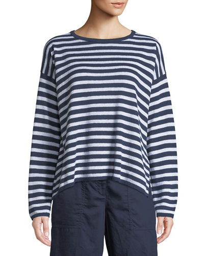 Eileen Fisher Striped Organic Linen Knit Sweater