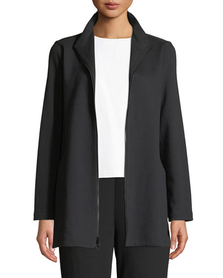Eileen Fisher Travel Ponte Zip-Front Jacket