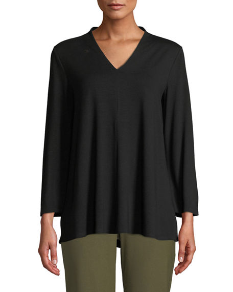 Eileen Fisher Petite V-Neck Bracelet-Sleeve Jersey Top