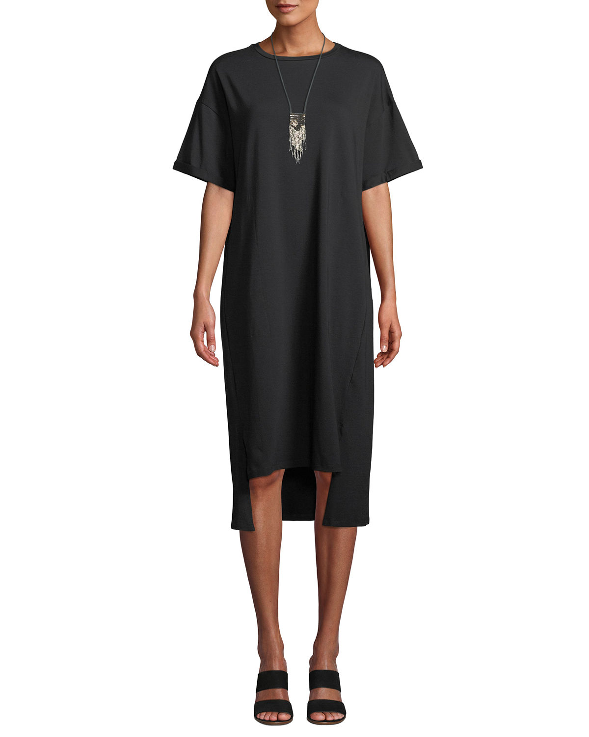 Eileen Fisher Short-Sleeve Stretch Jersey High-Low Dress, Plus Size ...