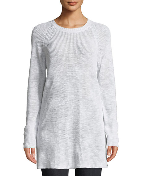 5a5ec63cc487 Eileen Fisher Linen Cotton Slub Tunic Sweater In White | ModeSens