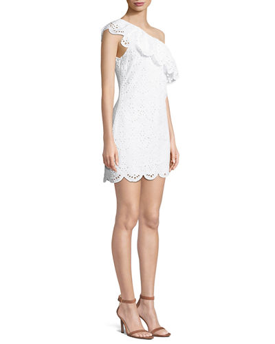 Cosmo One-Shoulder Ruffle Eyelet Dress