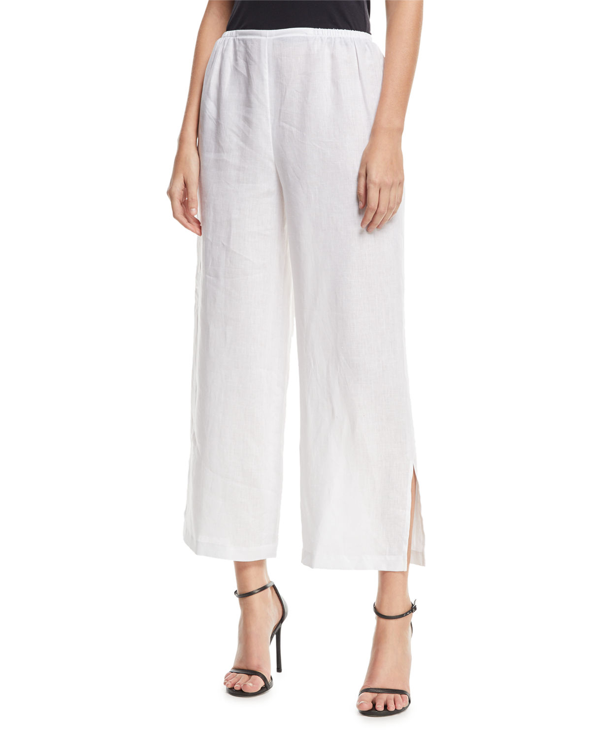 Caroline Rose Plus Size Tissue Linen Wide-Leg Pants