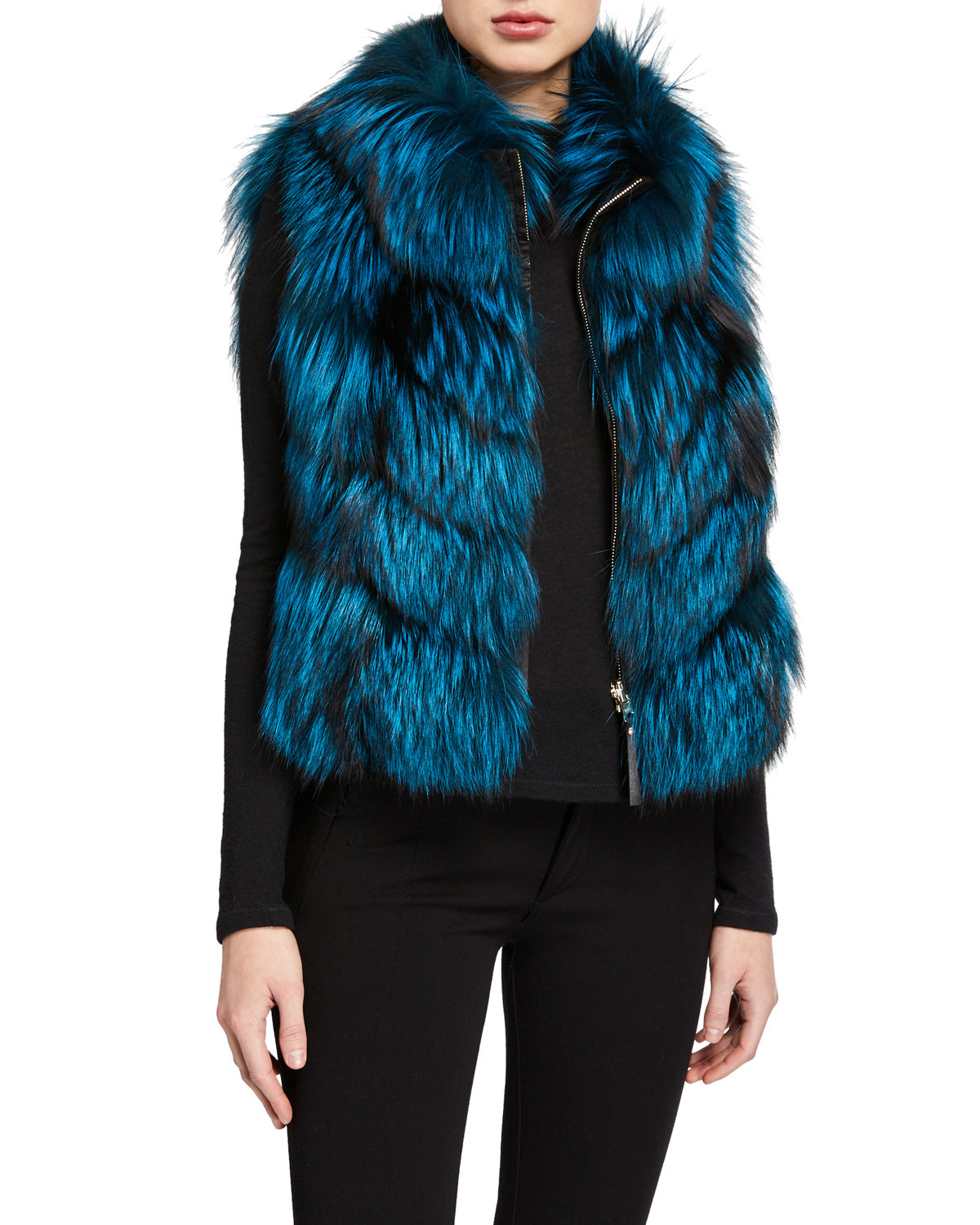 Gorski Tops NYLON & FOX FUR REVERSIBLE CHEVRON VEST