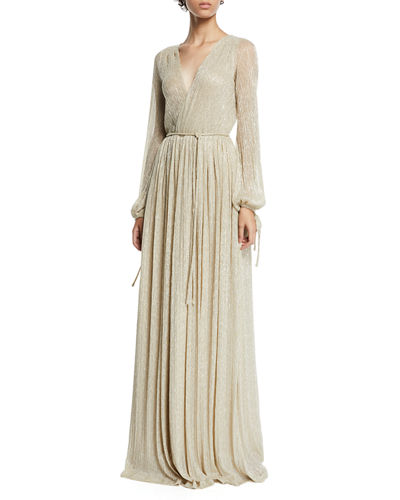 Christina Metallic Pleated Long-Sleeve Wrap Gown