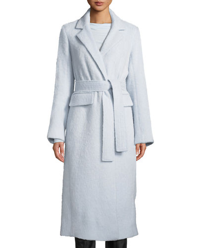 Belted Single-Button Wool-Blend Long Coat