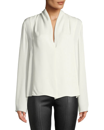 12f76097a39315 Quick Look. Vince · Draped-Neck Long-Sleeve Silk Blouse