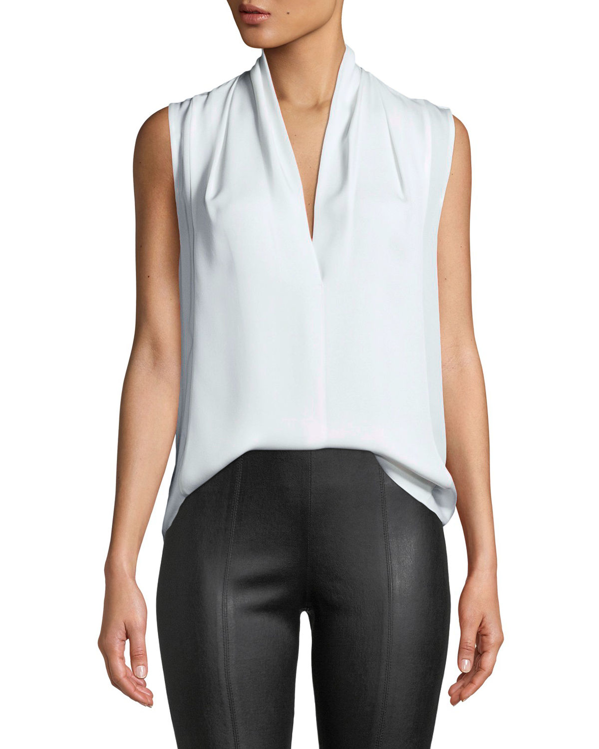1dc3aaf43354db Vince Sleeveless Draped-Neck Silk Blouse