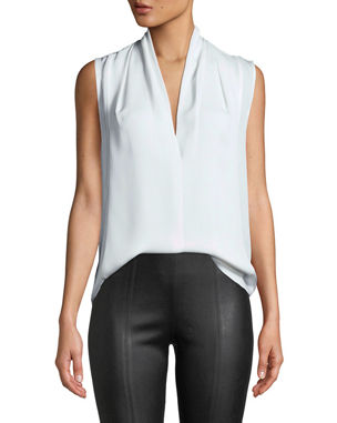47c7229faf0e77 Vince Sleeveless Draped-Neck Silk Blouse