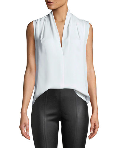 45026233b6198a Quick Look. Vince · Sleeveless Draped-Neck Silk Blouse