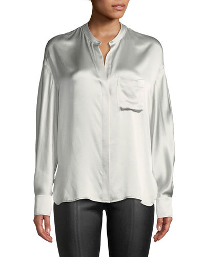 Silk Single-Pocket Long-Sleeve Blouse