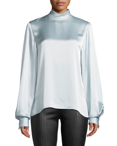 Silk Turtleneck Blouson-Sleeve Top
