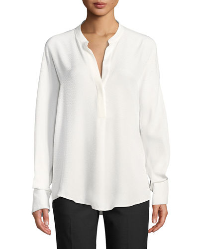 a0a2b07580847 Quick Look. Vince · Dot Jacquard Band-Collar Popover Blouse
