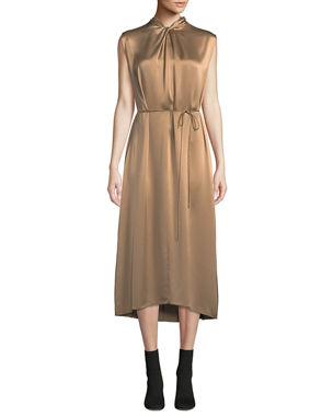 2dcc4f41bc Vince Knot-Front Sleeveless Silk Midi Dress