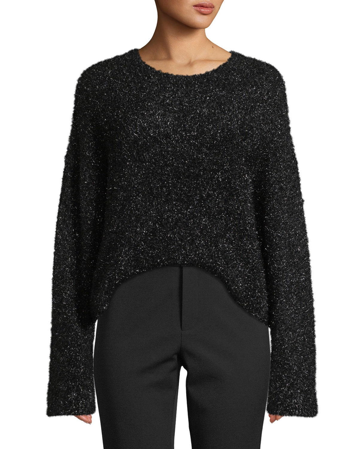 Vince Boxy Pullover Sweater Top In Black Modesens Basic Pull Over