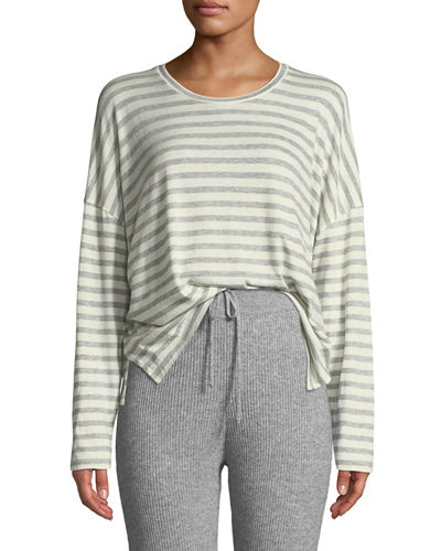Bengal-Stripe Scoop-Neck Long-Sleeve Cotton Tee