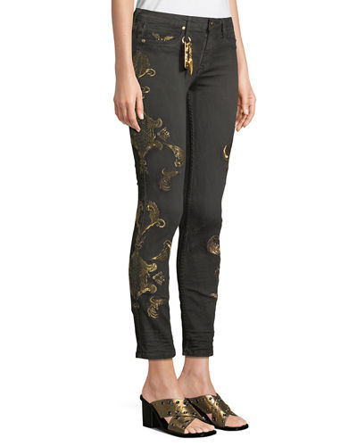 Gothic Metallic-Embroidered Skinny Jeans