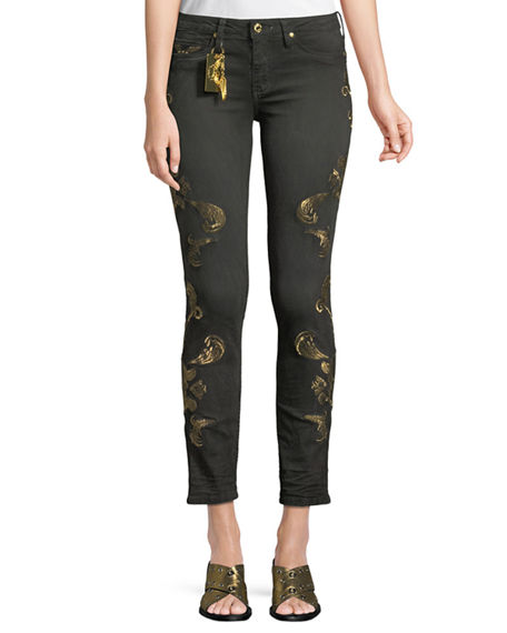 Robin's Jean GOTHIC METALLIC-EMBROIDERED SKINNY JEANS