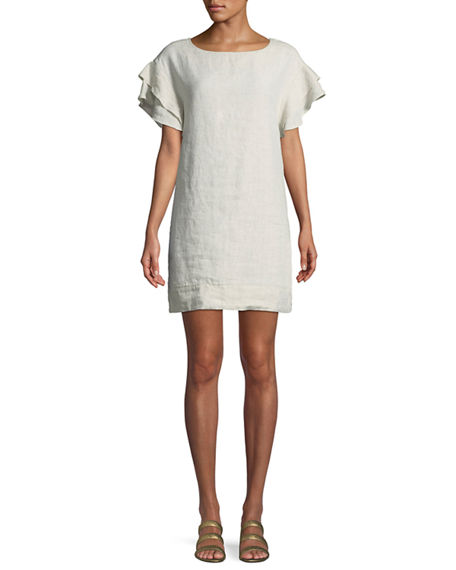 Finley BUTTERFLY-SLEEVE SHIFT LINEN DRESS